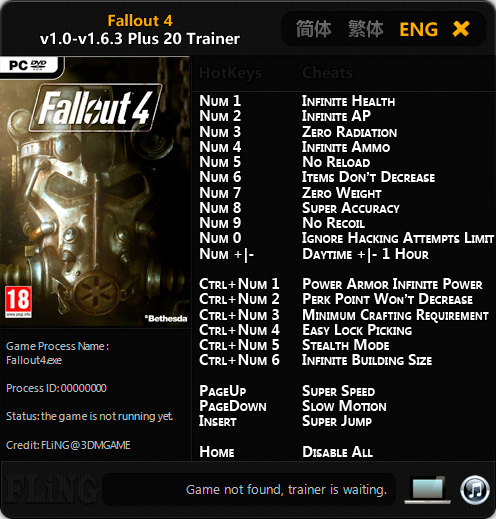 Fallout 4 — трейнер для версии 1.6.3 (+20) FLiNG