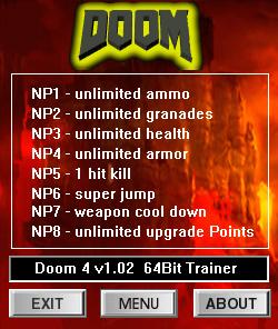 DOOM — трейнер для версии 1.02 (+8) dR.oLLe