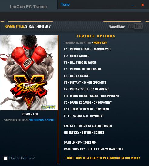 Street Fighter V — трейнер для версии 1.06 (+15) LinGon