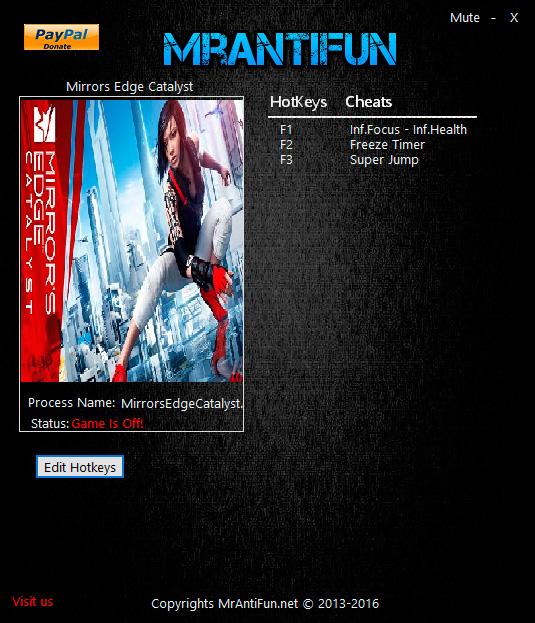Mirror's Edge: Catalyst — трейнер для версии 1.3.47248 (+4) MrAntiFun