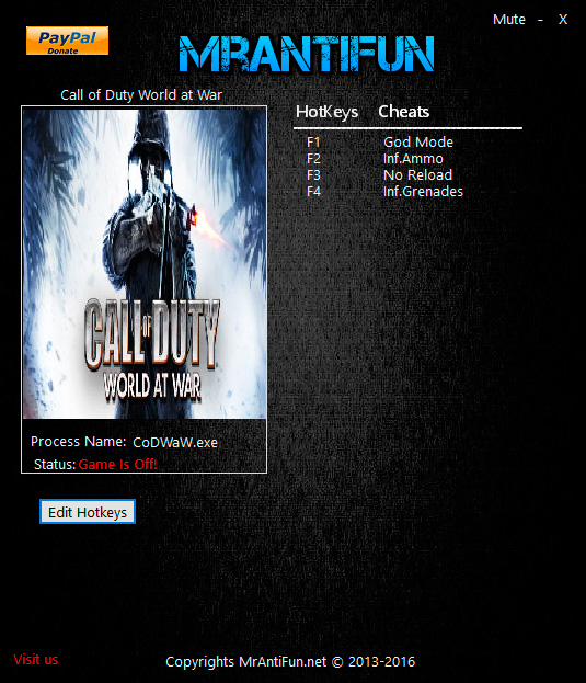 Call of Duty: World at War — трейнер для версии 1.7.1263 (+4) MrAntiFun