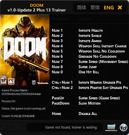 DOOM — трейнер для версии 1.03 (+13) FliNG