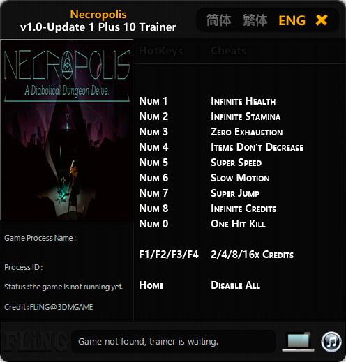 Necropolis: A Diabolical Dungeon Delve — трейнер для версии u1 (+10) FLiNG