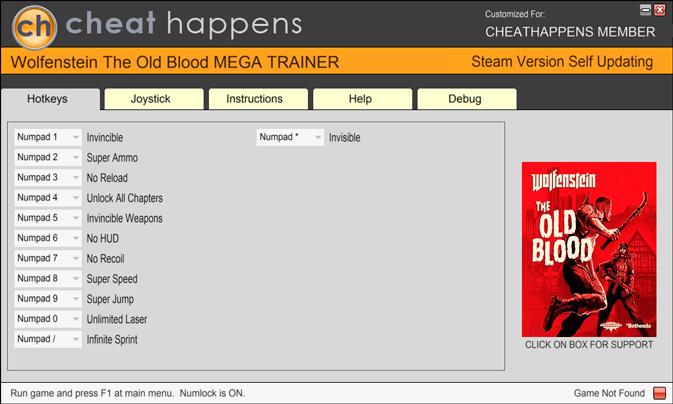 Wolfenstein: The Old Blood — трейнер для версии 0.1464 (+12) Cheat Happens