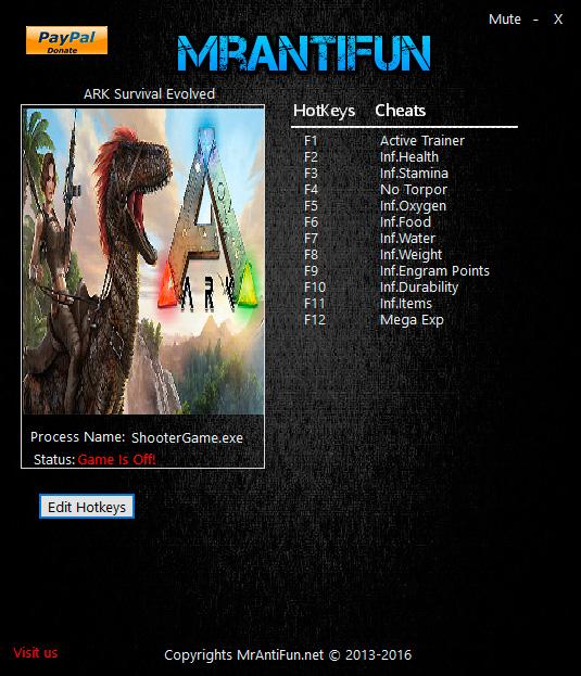 ARK: Survival Evolved — трейнер для версии 244.7 (+11) MrAntiFun