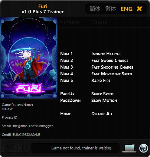 Furi — трейнер для версии 1.0 (+7) FLiNG