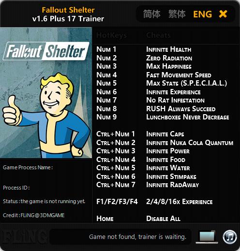 Fallout Shelter — трейнер для версии 1.6 (+17) FliNG