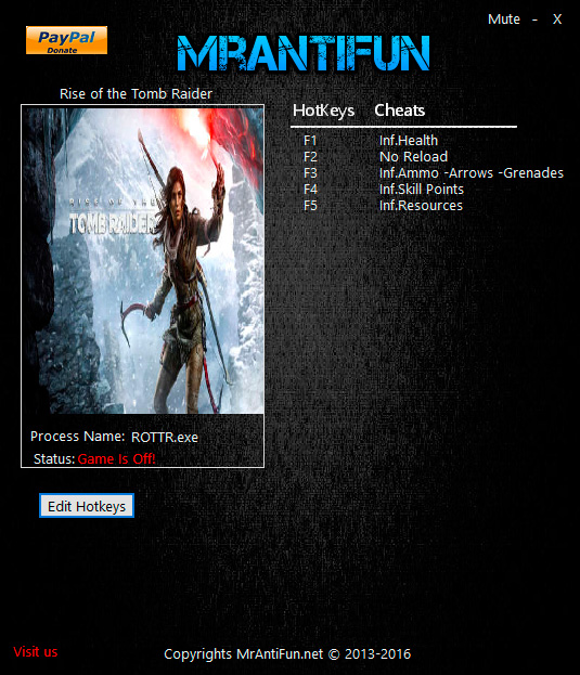 Rise of the Tomb Raider — трейнер для версии 1.0.668.1 (+5) MrAntiFun