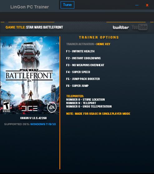 Star Wars: Battlefront — трейнер для версии 1.0.5.42268 (+8) LinGon