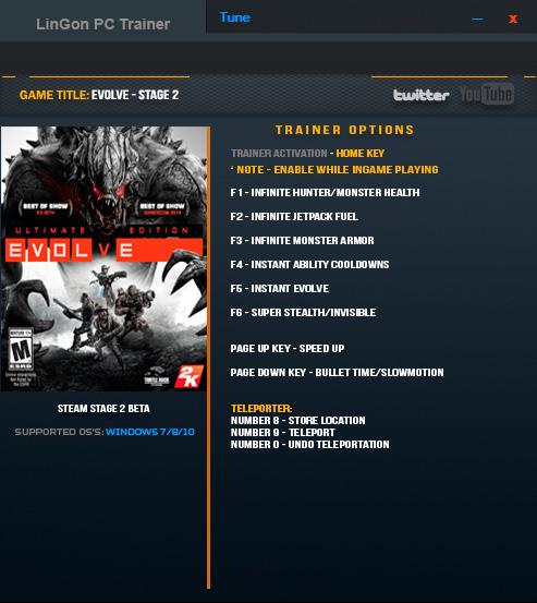 Evolve Stage 2 — трейнер для версии 2.001 (+10) LinGon