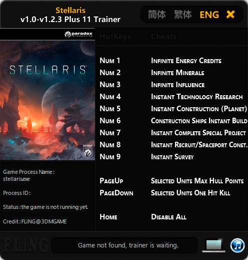 Stellaris — трейнер для версии 1.2.3 (+11) FLiNG