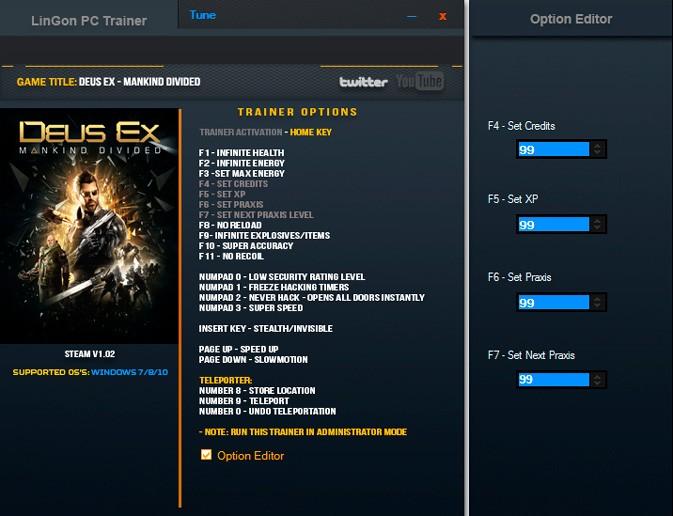 Deus Ex: Mankind Divided — трейнер для версии 1.02 (+20) LinGon