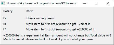 No Man's Sky — трейнер для версии 1.0 (+3) PCtrainers
