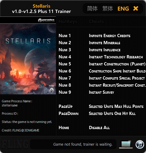 Stellaris — трейнер для версии 1.2.5 (+11) FLiNG