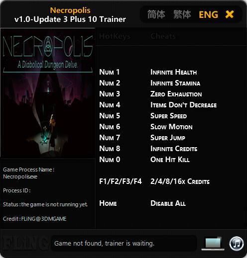 Necropolis: A Diabolical Dungeon Delve — трейнер для версии u3 (+10) FLiNG