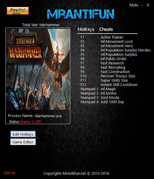 Total War: Warhammer — трейнер для версии 1.2.0 (Build 10911) (+17) MrAntiFun