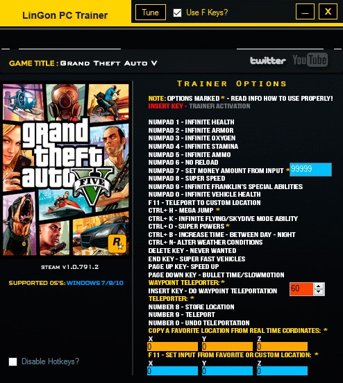 Grand Theft Auto 5 — трейнер для версии 1.0.791.2 (+24) LinGon