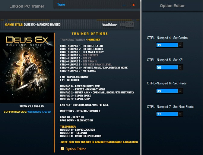 Deus Ex: Mankind Divided — трейнер для версии 1.1 (b 524.15) (+22) LinGon