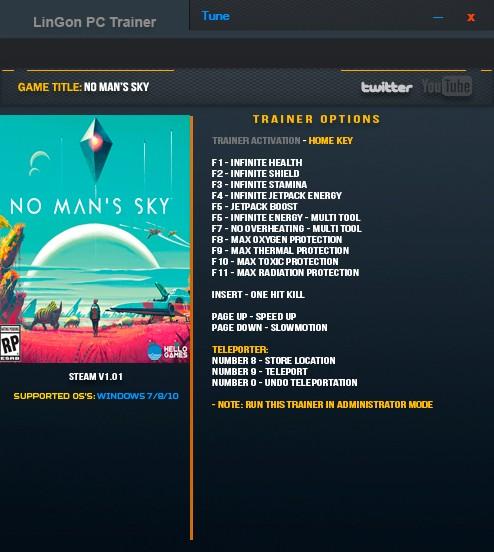 No Man's Sky — трейнер для версии 1.01 (+16) LinGon
