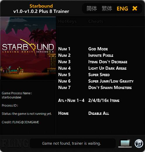 Starbound — трейнер для версии 1.0.2 (+8) FliNG [64-bit]