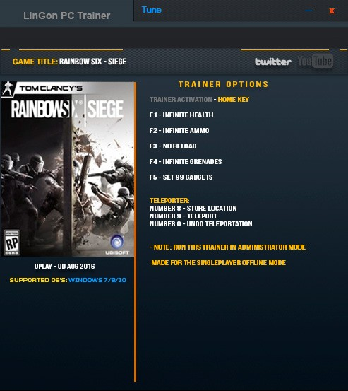 Tom Clancy's Rainbow Six: Siege — трейнер для версии от 02.08.2016 (+7) LinGon