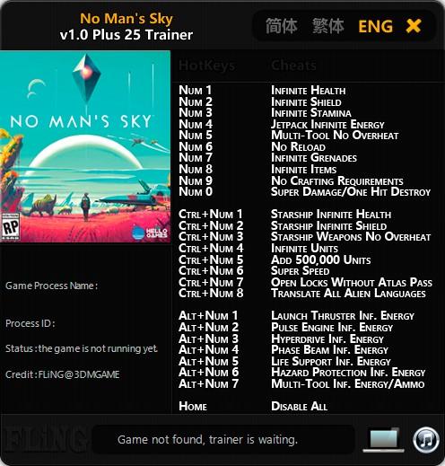 No Man's Sky — трейнер для версии 1.0 (+25) FliNG