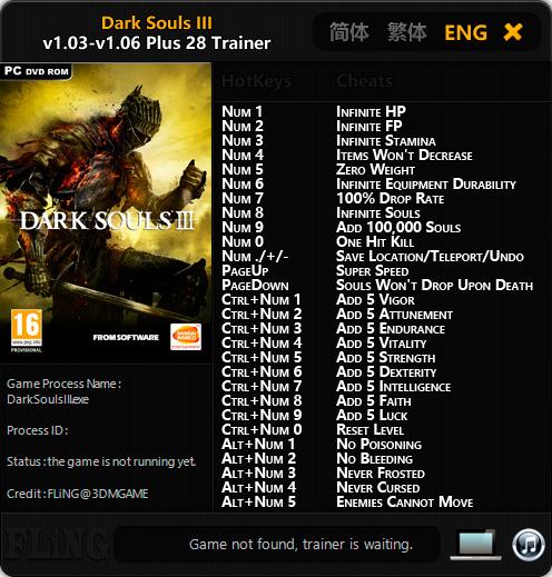 Dark Souls 3 — трейнер для версии 1.06 (+28) FLiNG