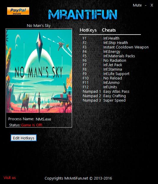 No Man's Sky — трейнер для версии 1.0 (+15) MrAntiFun