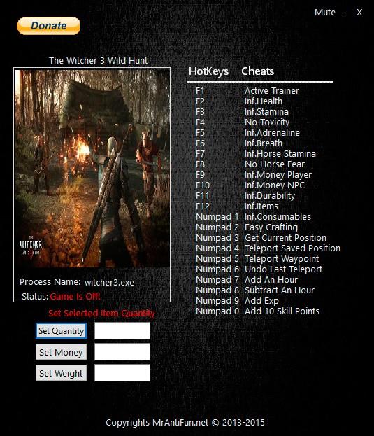 Ведьмак 3: Дикая охота — трейнер для версии 1.30 (+24) MrAntiFun