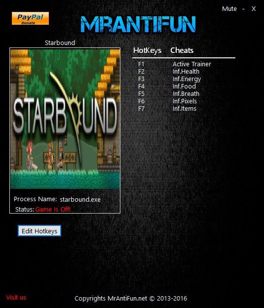Starbound — трейнер для версии 1.0.5 (+6) MrAntiFun [64-bit]