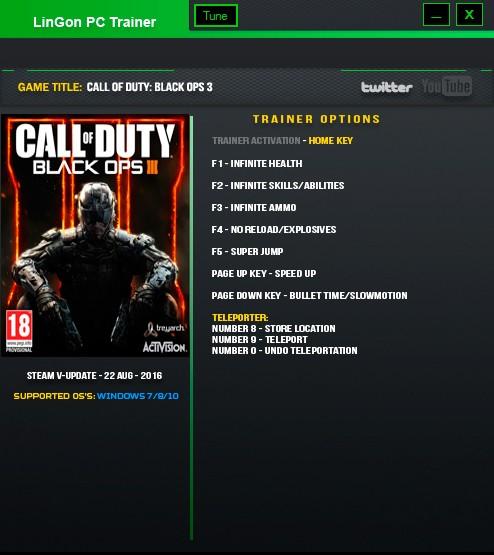 Call of Duty: Black Ops 3 — трейнер для версии u26 (+9) LinGon