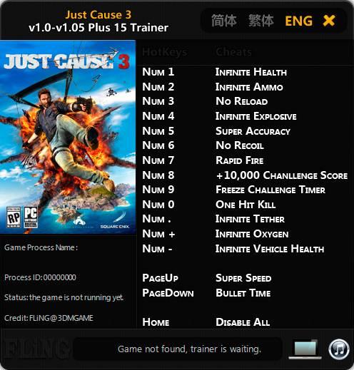 Just Cause 3 — трейнер для версии 1.05 (+15) FLiNG
