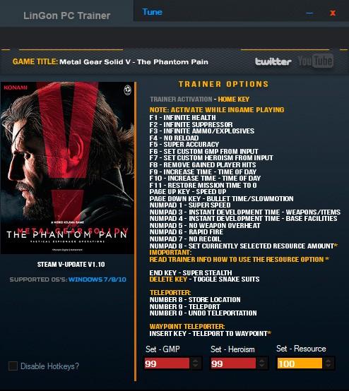 Metal Gear Solid V: The Phantom Pain — трейнер для версии 1.10 (+26) LinGon