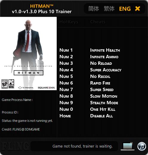 Hitman — трейнер для версии 1.3.0 (+10) FliNG