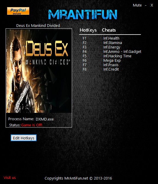 Deus Ex: Mankind Divided — трейнер для версии 1.1 (b 524.10) (+9) MrAntiFun