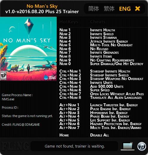 No Man's Sky — трейнер для версии от 20.08.2016 (+25) FliNG