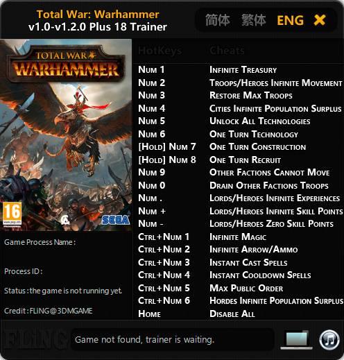 Total War: Warhammer — трейнер для версии 1.2.0 (+18) FLiNG