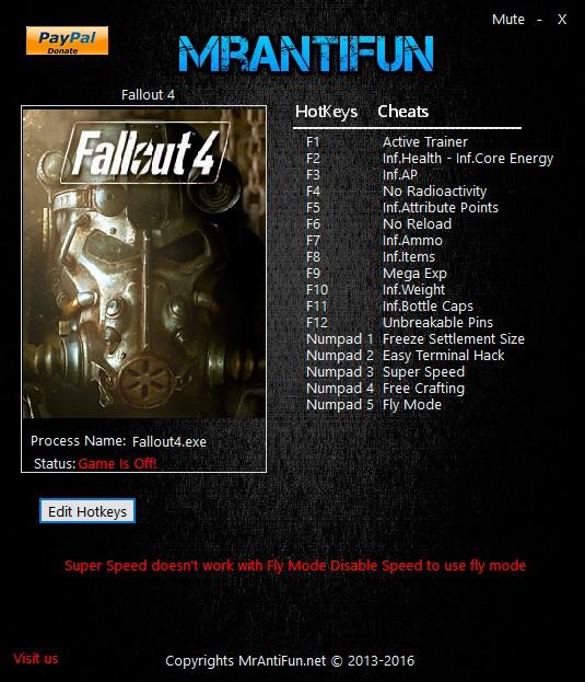 Fallout 4 — трейнер для версии 1.7.12.0.1 (+17) MrAntiFun