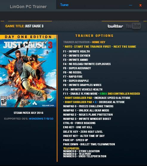 Just Cause 3 — трейнер для версии 1.05 (+24) LinGon