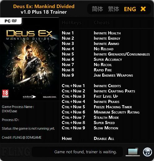 Deus Ex: Mankind Divided — трейнер для версии 1.0 (+18) FLiNG