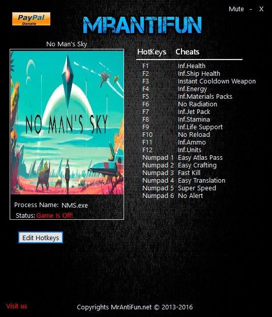 No Man's Sky — трейнер для версии 1.0 (+18) MrAntiFun [B]