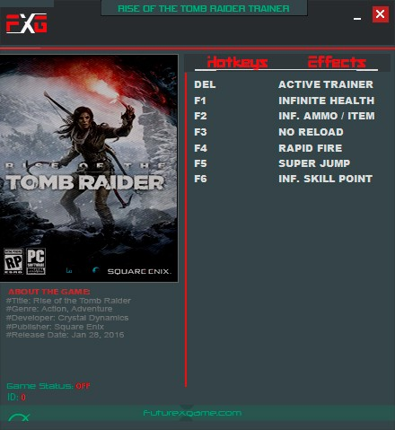 Rise of the Tomb Raider — трейнер для версии 1.0.668.1 (+6) FutureX