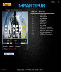 Sniper: Ghost Warrior 3 — трейнер для версии 1.03 (+12) MrAntiFun