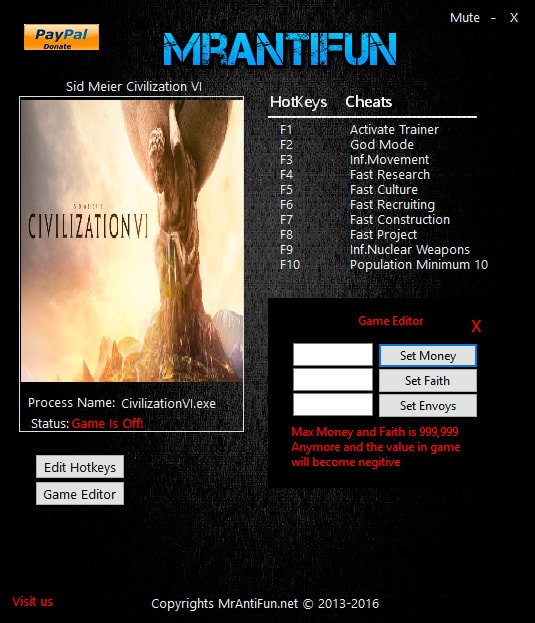 Sid Meier's Civilization 6 — трейнер для версии 1.0.0.194 (+12) MrAntiFun