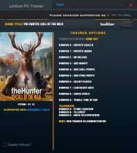 theHunter: Call of the Wild — трейнер для версии 1.13 (+12) LinGon
