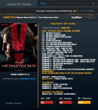 Metal Gear Solid V: The Phantom Pain — трейнер для версии 1.12 (+26) LinGon