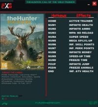 theHunter: Call of the Wild — трейнер для версии 1.12 (+13) FutureX
