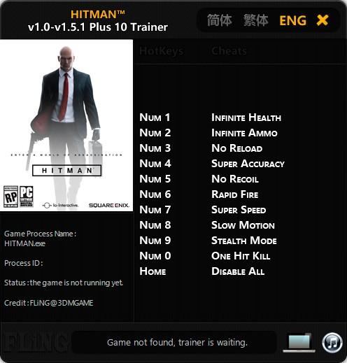 Hitman — трейнер для версии 1.5.1 (+10) FLiNG