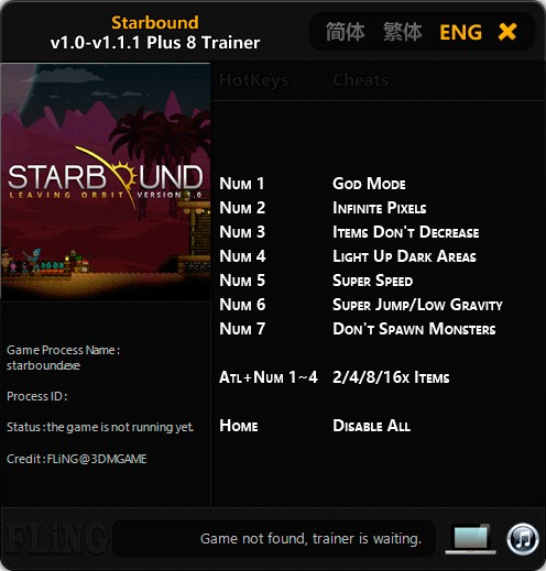 Starbound — трейнер для версии 1.1.1 (+8) FLiNG [64-bit]