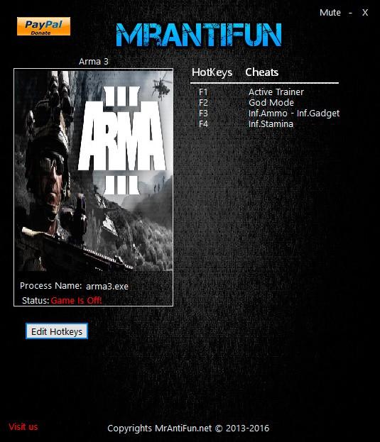 Arma 3 — трейнер для версии 1.64.138497 (+4) MrAntiFun
